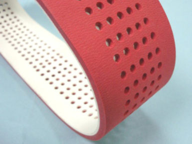 Conveyor Belt Red Linatex with Holes 2