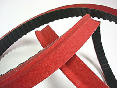 Neoprene Timing Belt with Red Linatex Contoured