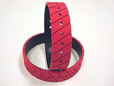 Panther Belt with Red Molded Cover Holes and Serrated
