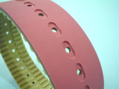 Timing Belt Red Rubber with Holes & Slots
